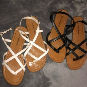Bundle of Two Forever 21 Sandals (Black and White)